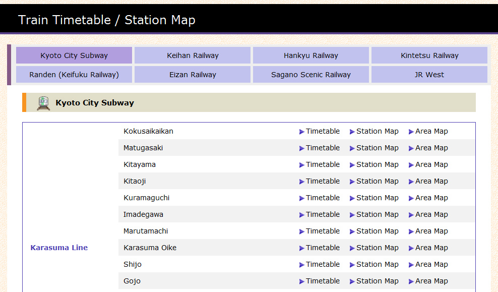 Station search page